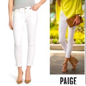 Paige denim Kylie cropped white skinny jeans